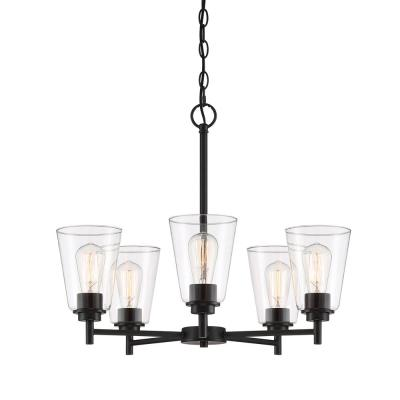 Westin 5-Light Matte Black Chandelier with Clear Glass Shades