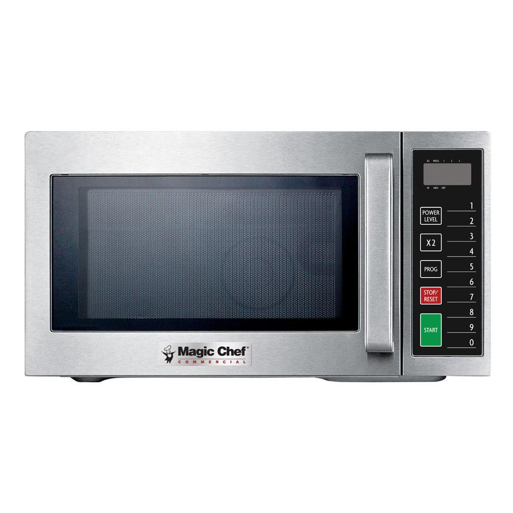 Magic Chef 0 9 Cu Ft Commercial Countertop Microwave In Stainless Steel