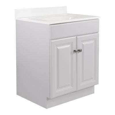 24 in. x 21 in. x 31.5 in. 2-Door Bath Vanity in White w/ Solid White Single Hole Cultured Marble Vanity Top w/ Basin