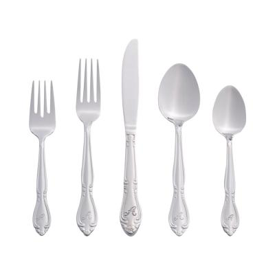 Rose Monogrammed Letter A 46-Piece Silver Stainless Steel Flatware Set (Service for 8)