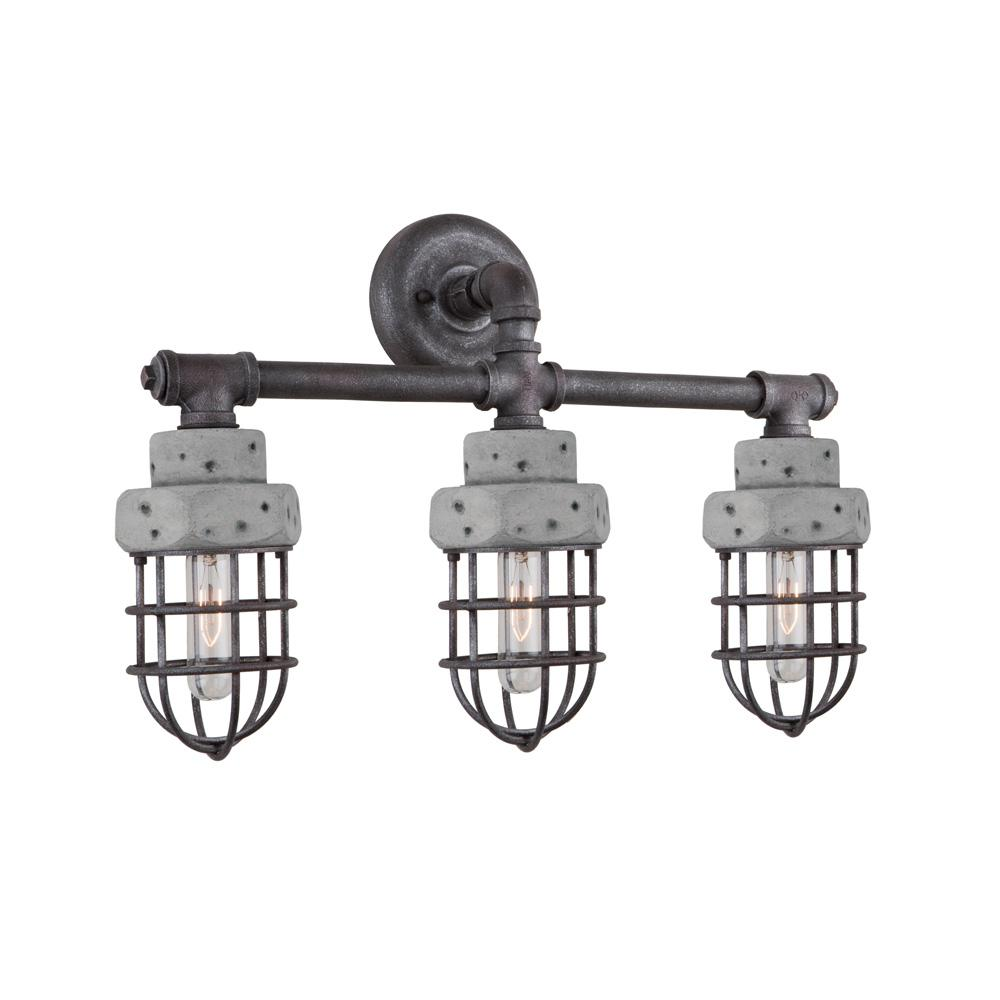 ARTCRAFT Loft 3-Light Slate and Grey Bath Light The  Loft  Collection features a metal frame in a slate finish with authentic concrete housing. Very industrial as suited by its collection name.