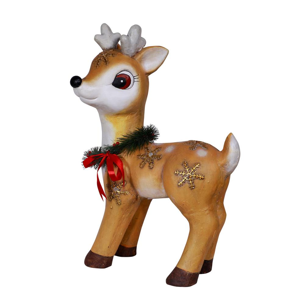 Alpine Corporation 23 In Christmas Wreath Reindeer Decor With Warm White Led Lights