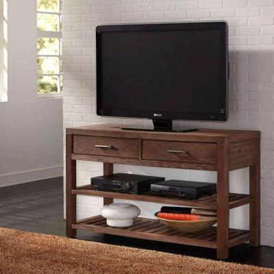 Barnside 54 in. Aged Barnside Wood TV Stand with 2 Drawer Fits TVs Up to 65 in. with Adjustable Shelves