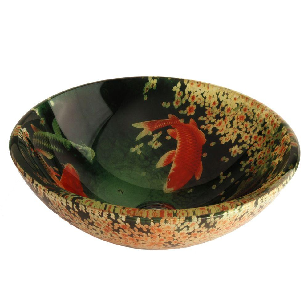 Fontaine Koi And Lilies Glass Vessel Sink Fsa Vs Psz003d The Home Depot