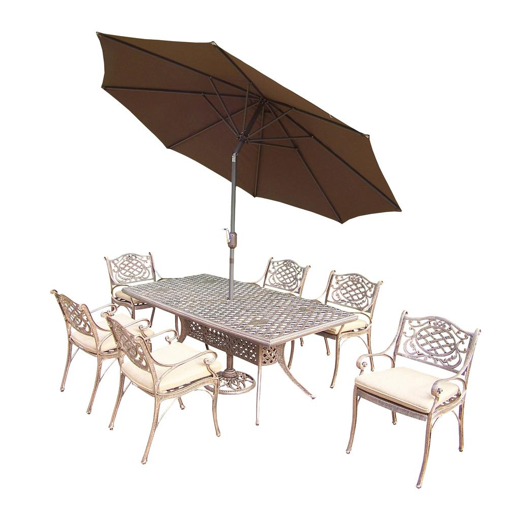 9-Piece Aluminum Outdoor Dining Set with Tan Cushions and Umbrella