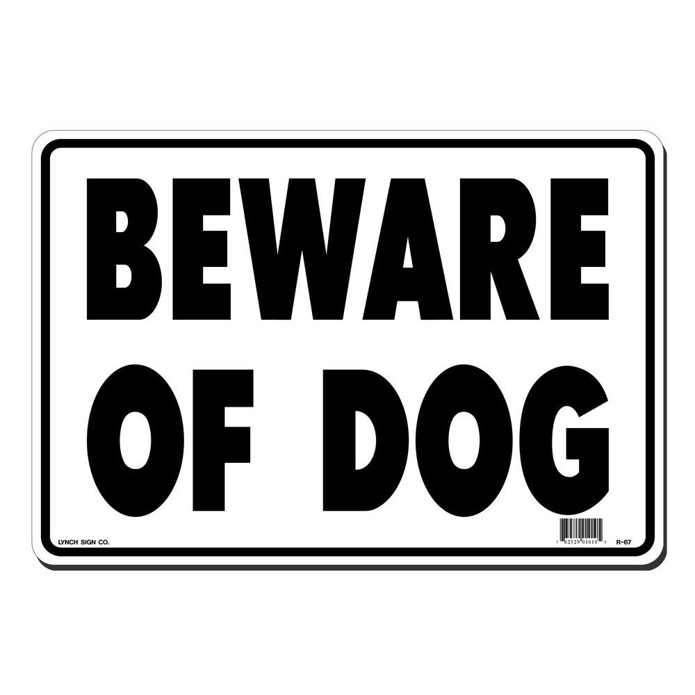 14 in. x 10 in. Beware of Dog Sign Printed on