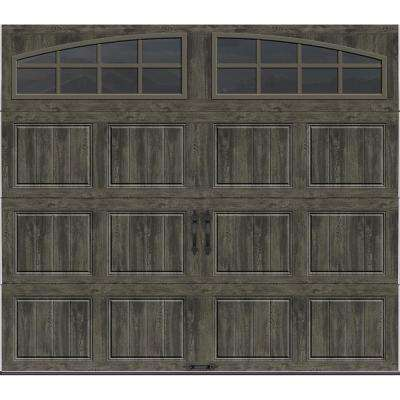 Gallery Collection 8 ft. x 7 ft. 6.5 R-Value Insulated Ultra-Grain Slate Garage Door with Arch Window