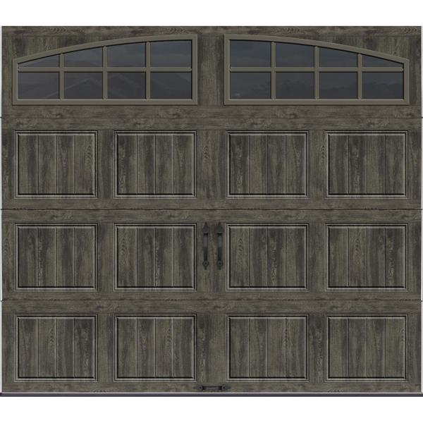 Gallery Collection 8 ft. x 7 ft. 18.4 R-Value Intellicore Insulated Ultra-Grain Slate Garage Door with Arch Window