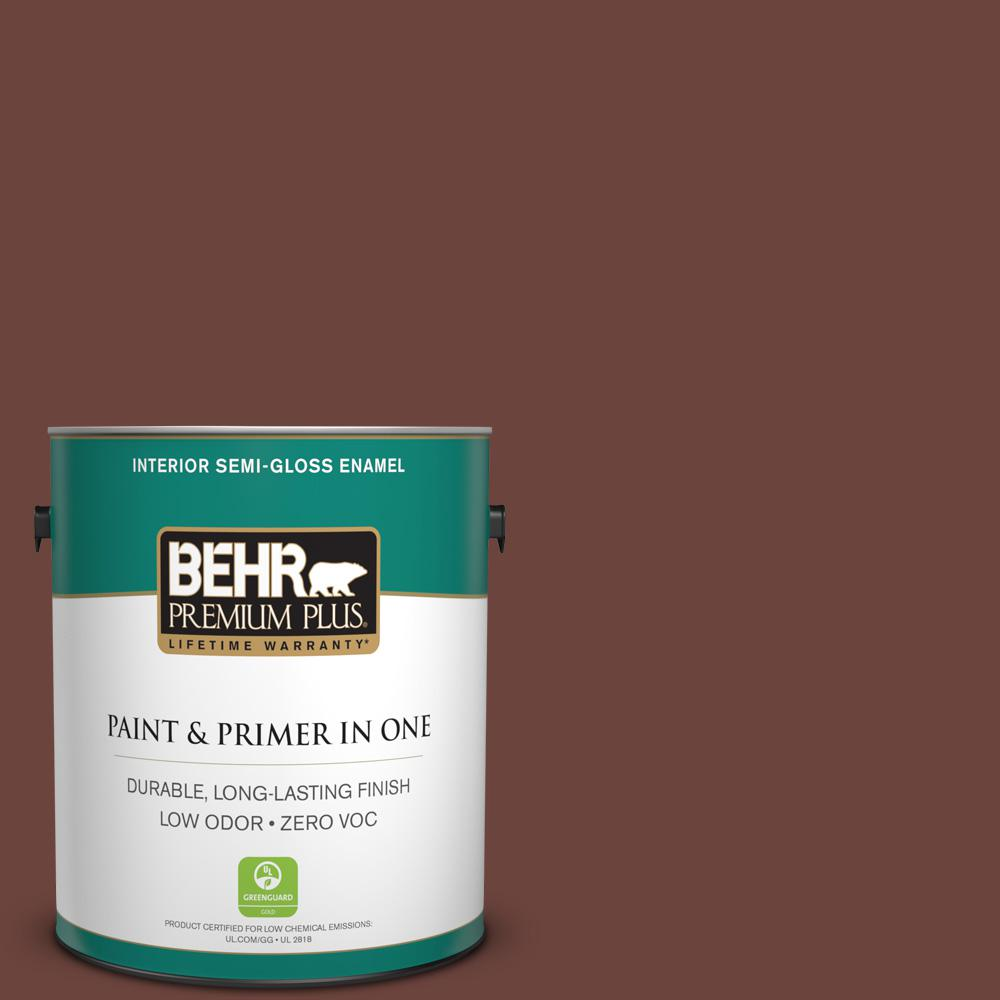 1-gal. #S-G-750 Chocolate Sprinkle Zero VOC Semi-Gloss Enamel Interior Paint