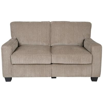 RTA Santa Cruz 61 in. Platinum/Espresso Polyester 2-Seater Loveseat with Removable Cushions