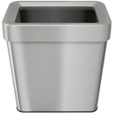 16 Gal. Rectangular Open-Top Stainless Steel Trash Can