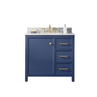 36 in. W Vanity in Blue with Marble Vanity Top in White with White Basin