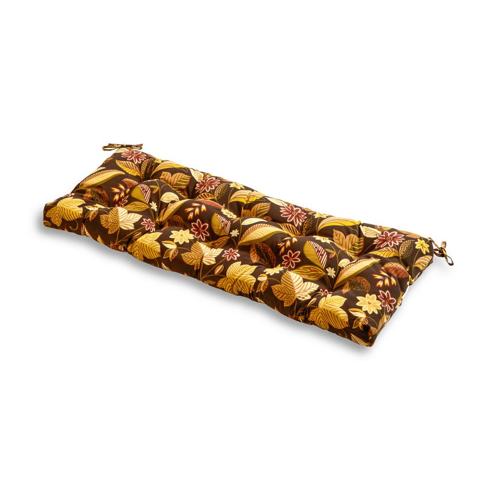 Greendale Home Fashions Timberland Floral Rectangle Outdoor Bench Cushion