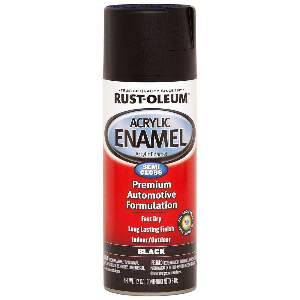 12 oz. Black Semi-Gloss Acrylic Enamel Spray Paint