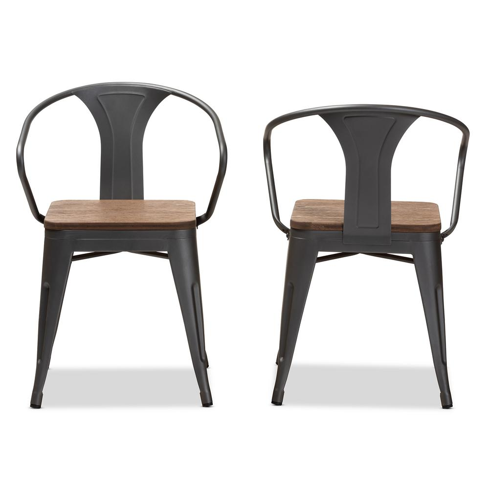 Henri Gunmetal Gray and Oak Brown Dining Chair (Set of 2)