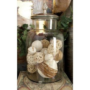 9 inch x 14 inch Clear Glass Jar with Silver Aluminum Lid by