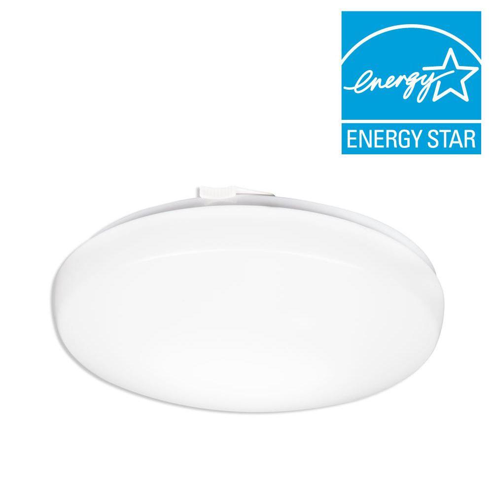 14 in. White LED Round Flushmount