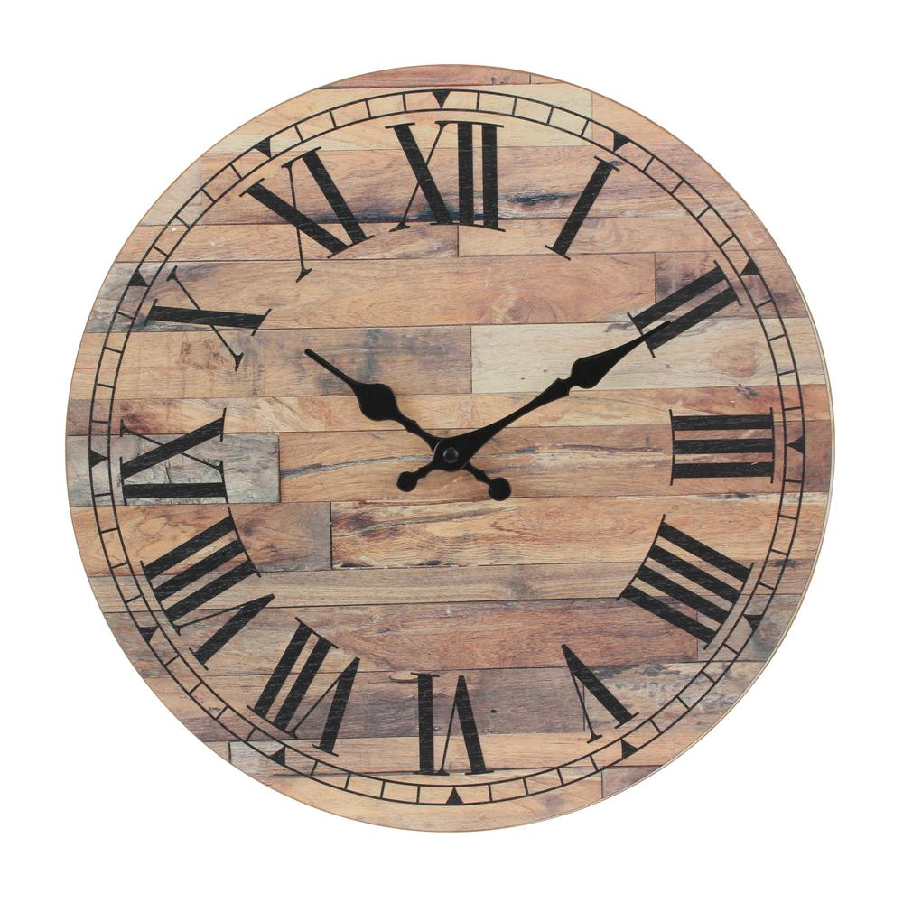 stonebriar collection natural wood roman numeral wall clock sb 6151a