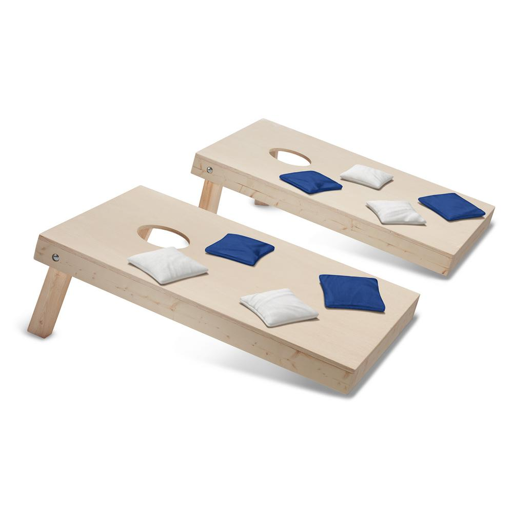 Take-And-Play Cornhole Toss Game Set with Royal Blue and White Bags