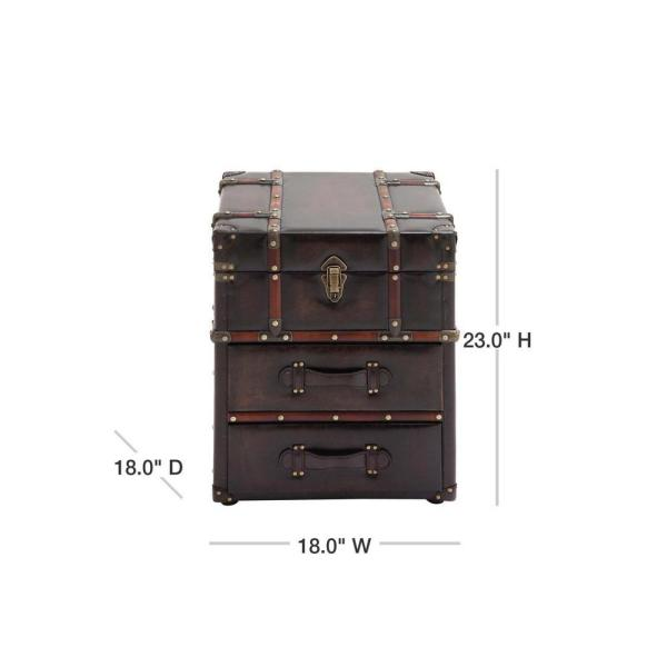Litton Lane Espresso Brown Steamer Trunk Side Table 55748 The Home Depot