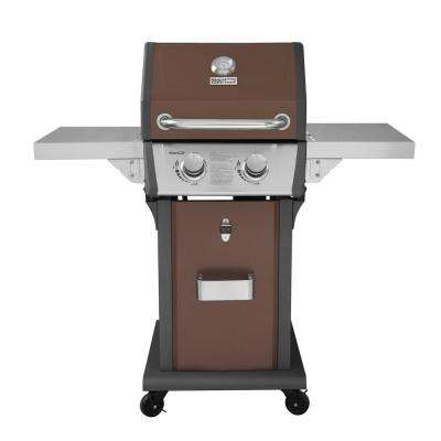 Deluxe 2-Burner Patio Propane Gas Grill in Copper with Folding Side Tables