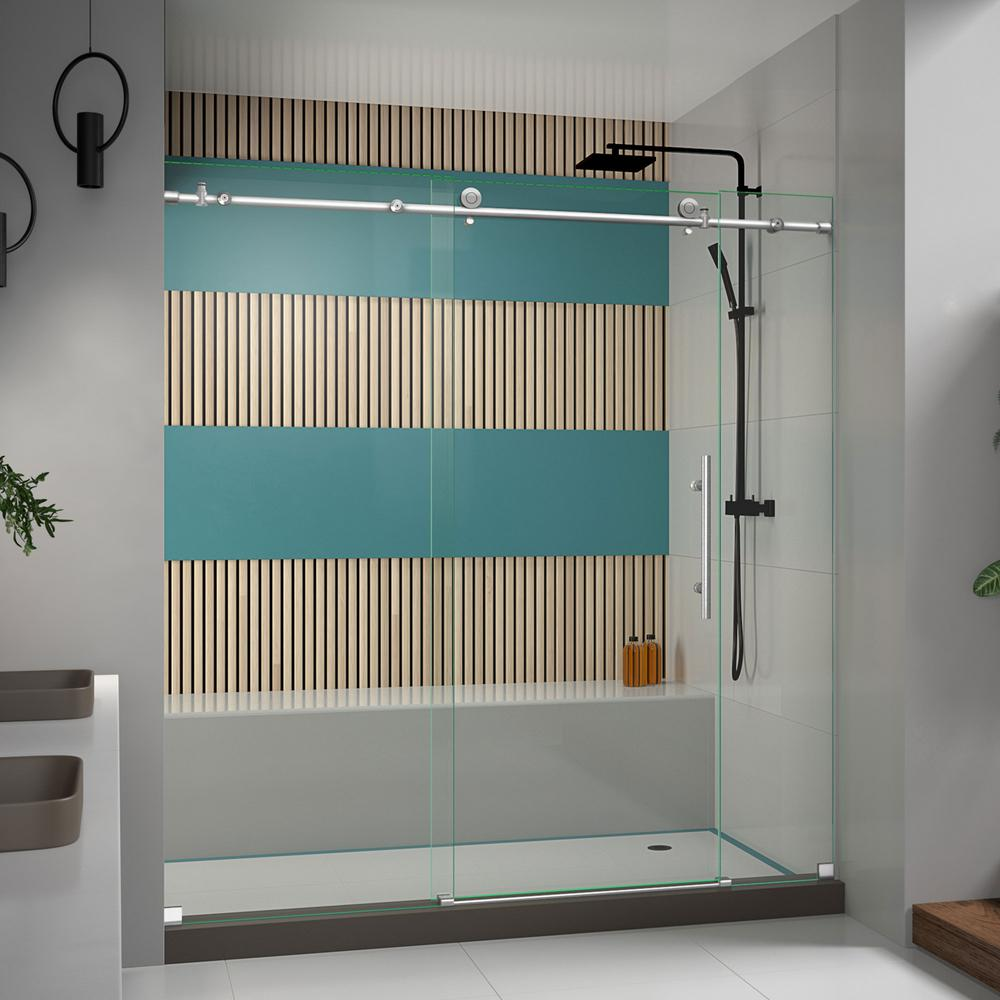 Delta Simplicity 48 In X 70 In Semi Frameless Traditional Sliding Shower Door In Bronze With Clear Glass 2421840 The Home Depot