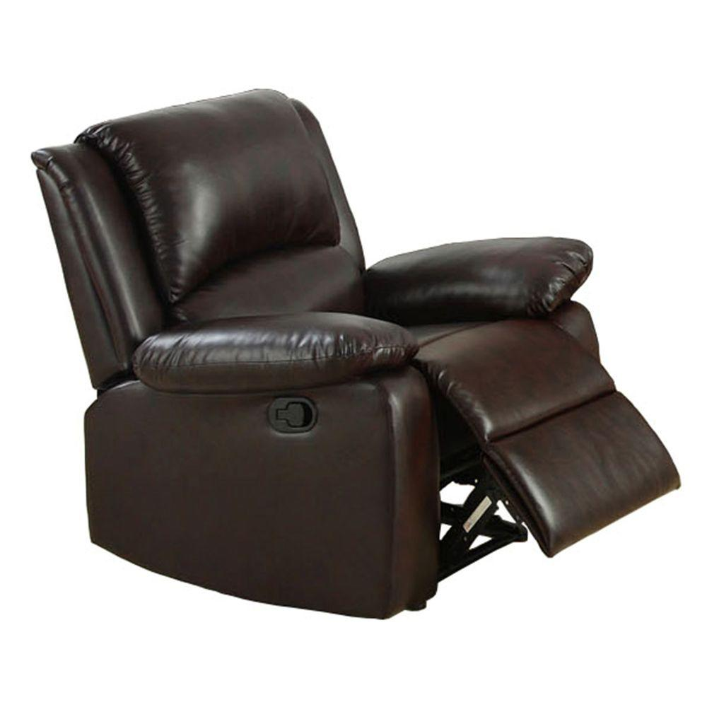 Furniture of America Oxford Rustic Dark Brown Leatherette Recliner  sc 1 st  The Home Depot : oxford recliner - islam-shia.org