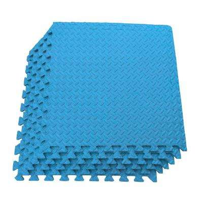 Multi-Purpose Blue 24 in. x 24 in. EVA Foam Interlocking Anti-Fatigue Exercise Tile Mat (6-Pack)