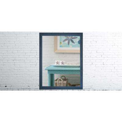 35.5 in. x 29.5 in. Country Cottage Blue Framed Non-Beveled Vanity Mirror