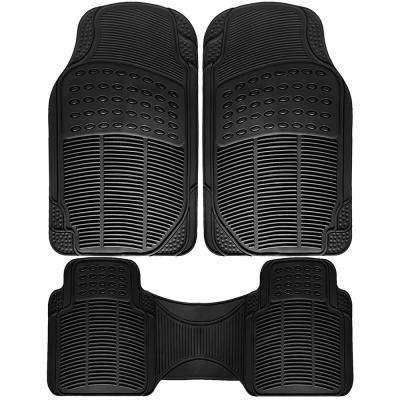 Universal Fit Black 3-Piece Full Set Ridged Heavy Duty Rubber Floor Mat