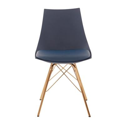 Navy Faux Leather Oakley Chair with Gold Chrome Base