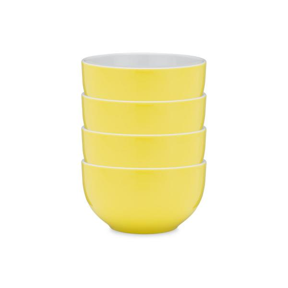 Q Squared Bistro 4-Piece Yellow Melamine Cereal Bowl Set BISYE04