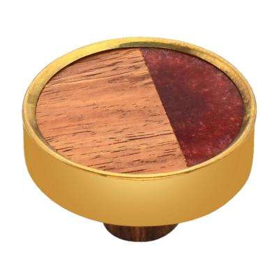 Athena 1-3/5 in. Wood and Rose Cabinet Knob