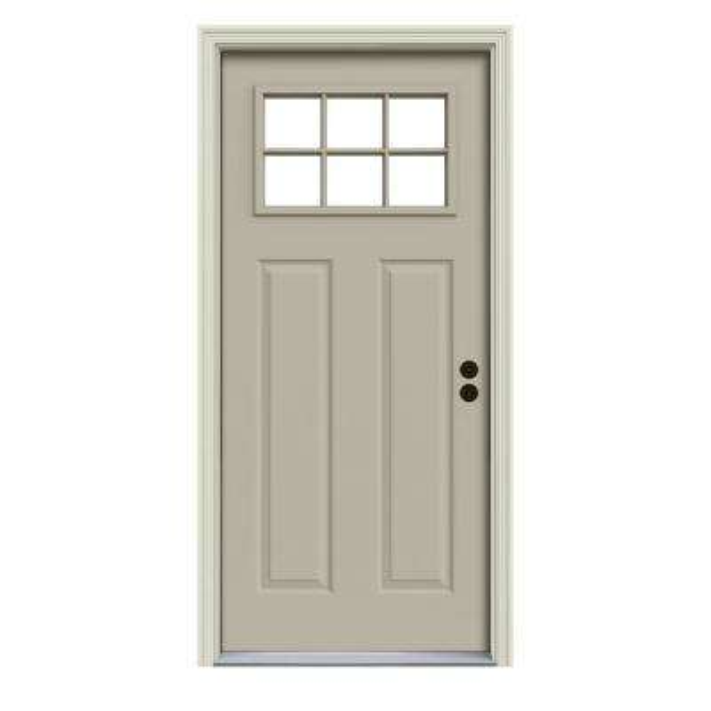 30 in. x 80 in. 6 Lite Craftsman Desert Sand Painted Steel Prehung Left-Hand Inswing Front Door w/Brickmould