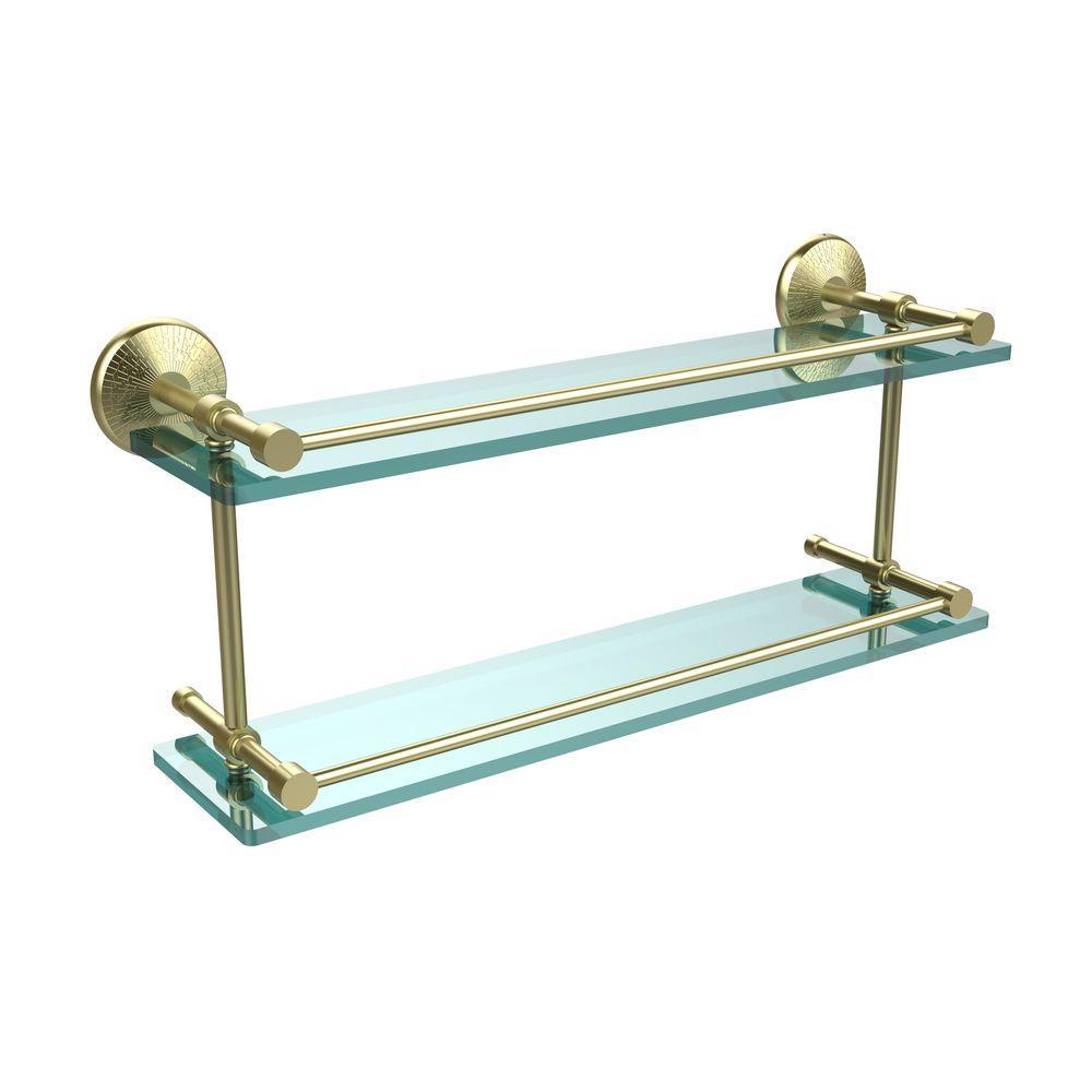 Monte Carlo 22 in. L  x 8 in. H  x 5 in. W 2-Tier Clear Glass Bathroom Shelf with Gallery Rail in Satin Brass