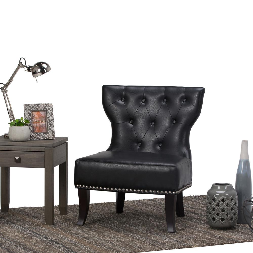 Simply Home Kitchener Black Bonded Leather Accent Chair