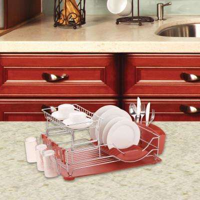 20 in. x 13 in. x 10 in. Red Deluxe Dish Drainer