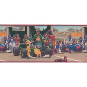 Vintage Pit Stop On Race Track Changing Tires Sports Prepasted Wallpaper Border