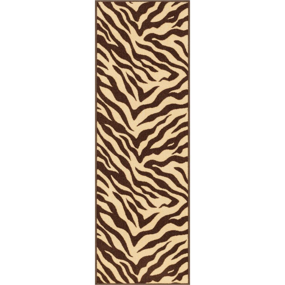 Kings Court Zebra 2 ft. 7 in. x 12 ft. Modern Animal Print Brown Runner Rug