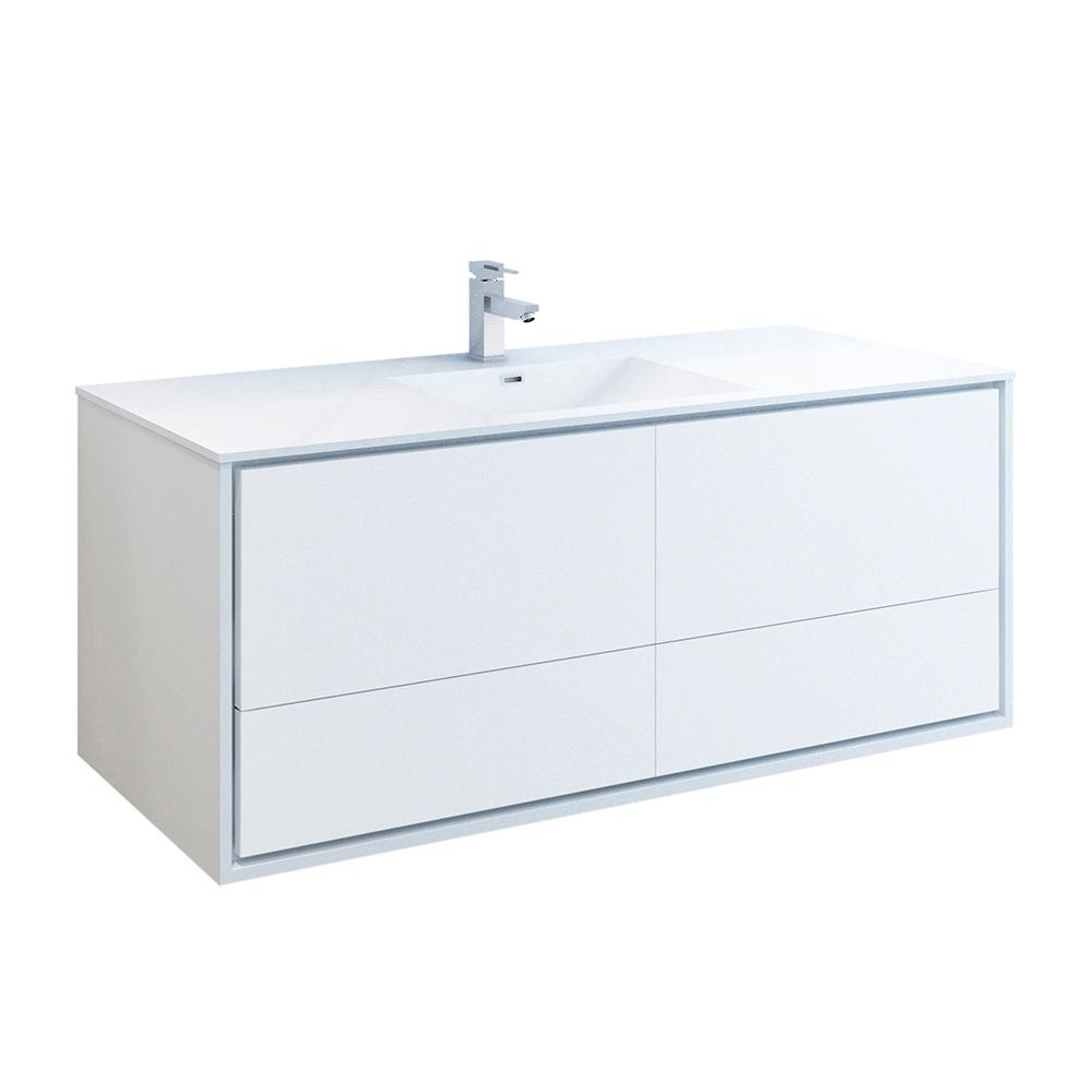 Fresca Catania 60 in. Modern Wall Hung Bath Vanity in Glossy White with Vanity Top in White with White Basin