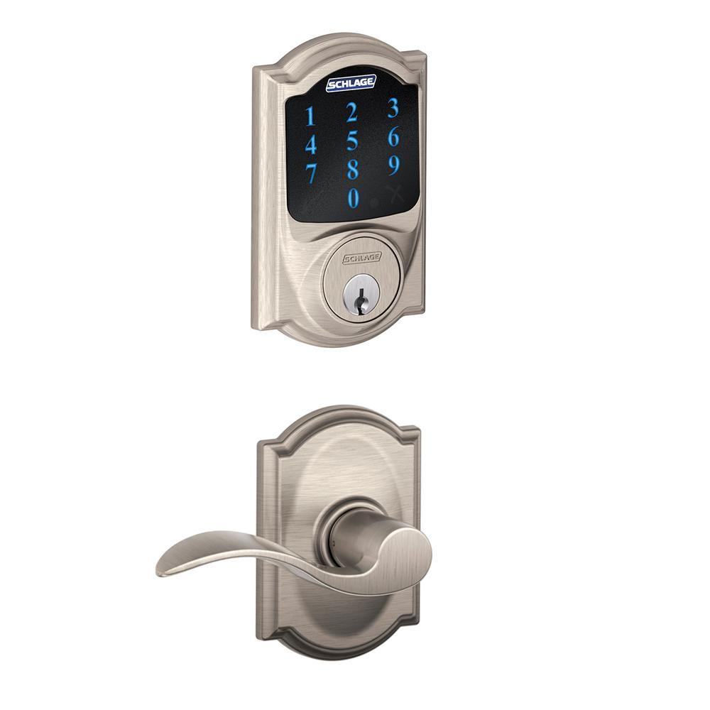 6824b5507d1 Camelot Satin Nickel Connect Smart Door Lock with Alarm and Accent Door  Lever