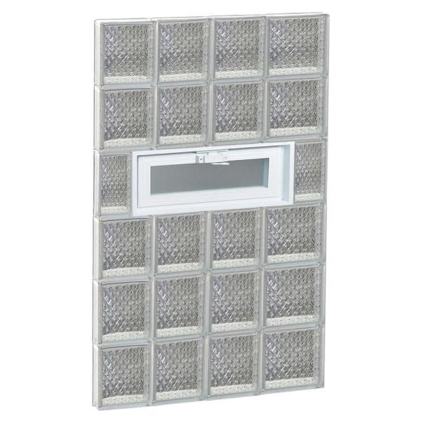 Clearly Secure 25 In X 46 5 In X 3 125 In Frameless Diamond Pattern Vented Glass Block Window 2648vdp The Home Depot