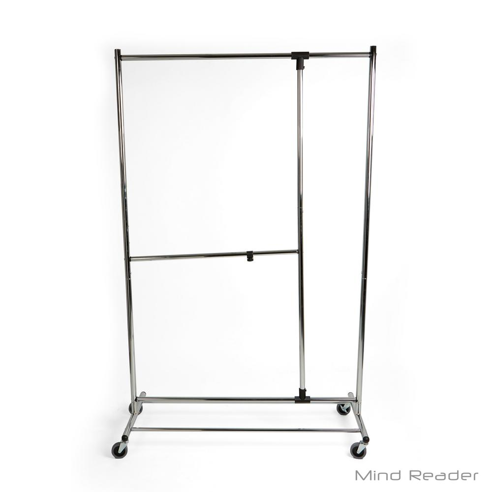 Mind Reader 45.67 in. W x 74.02 in. H Silver Metal Heavy Duty Multi-Pole Garment Rack Keep your clothes wrinkle-free while taking up very little space while having multiple racks for your clothes. Have a spot to hang up extra clothes, jackets, towels and more. The wheels even make it easier for you to maneuver the rack where you need it. Color: Silver.