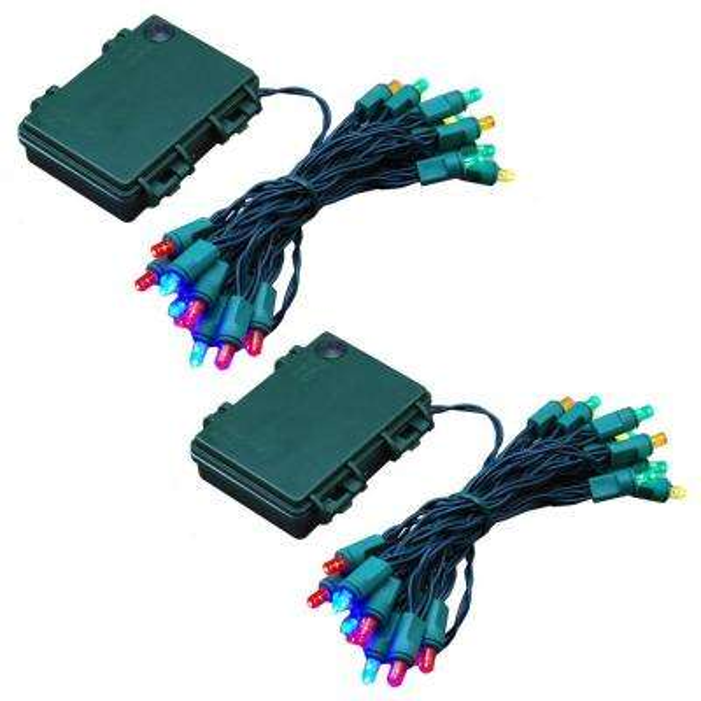 9.5 ft. 25-Light Multi-Color Battery Operated String Lights (Set of 2)