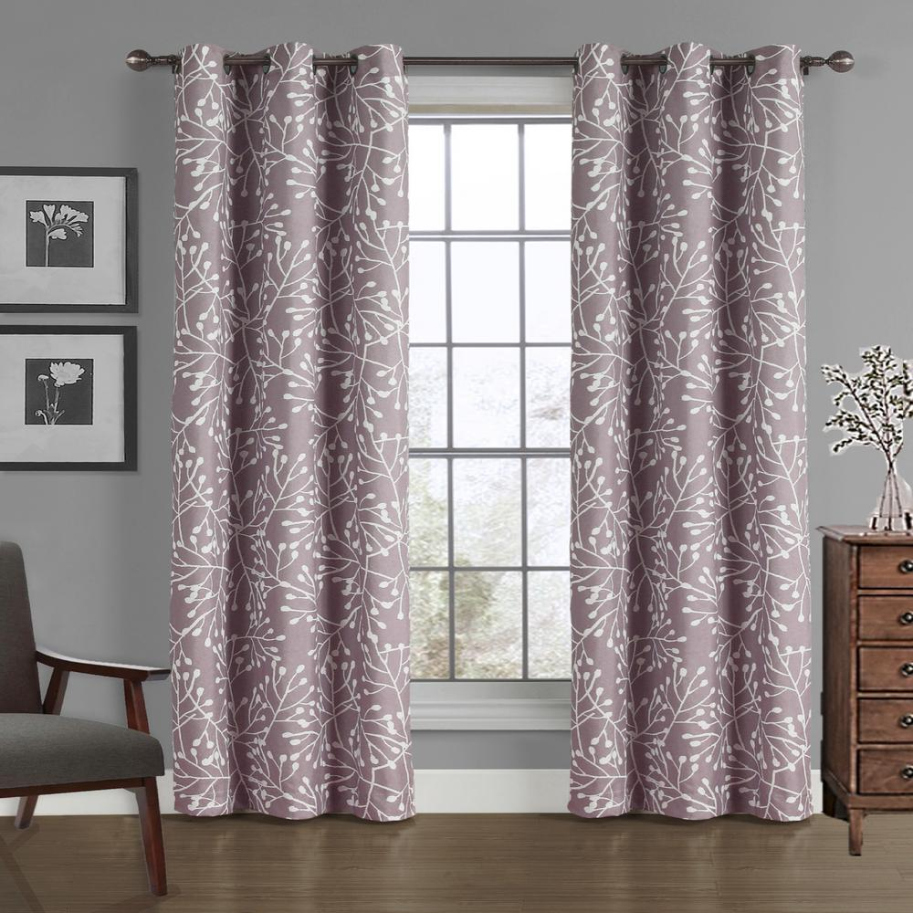 Branches Crushed Microfiber Panel In Dusty Lilac 40 W X 84 L