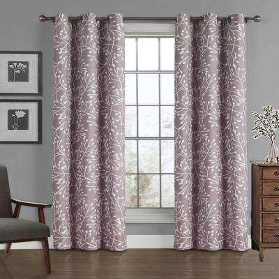 Branches Crushed Microfiber Panel in Dusty Lilac - 40 in. W x 84 in. L