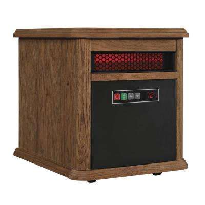 1500-Watt 6-Element Infrared Quartz Electric Portable Heater with Remote Control - Oak