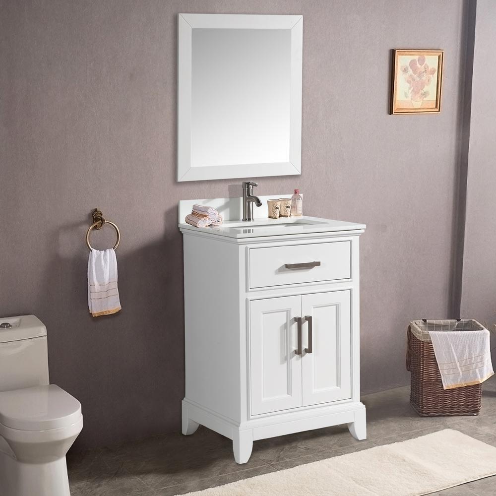 Vanity Art Genoa 30 in. W x 22 in. D x 36 in. H Bath Vanity in White with Vanity Top in White with White Basin and Mirror