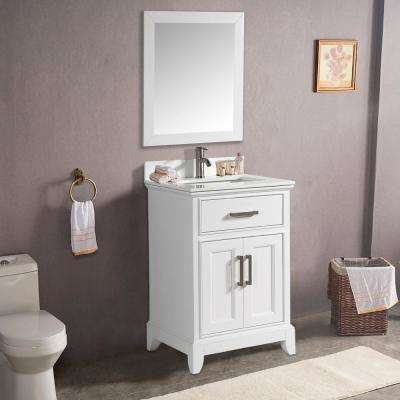 Genoa 30 in. W x 22 in. D x 36 in. H Bath Vanity in White with Vanity Top in White with White Basin and Mirror