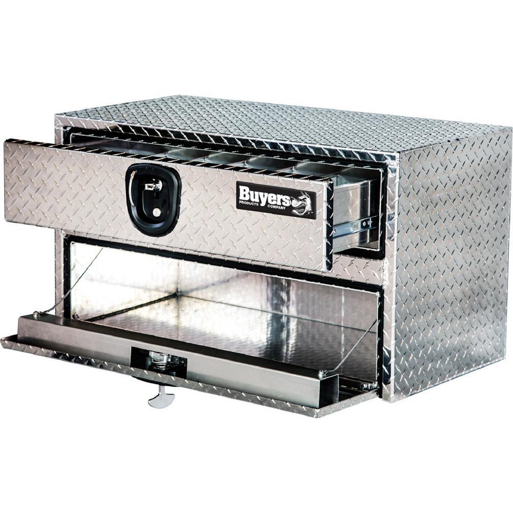 Diamond Tread Aluminum Underbody Truck Box with Drop Door and Drawer, 20 in. x 18 in. x 48 in.